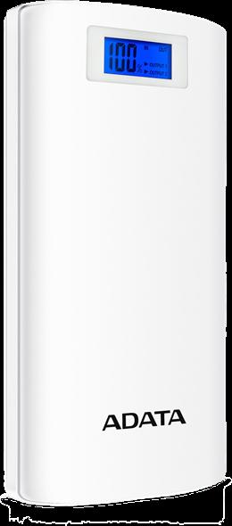 20 000 mAh Power Bank, 72Wh, LCD ekranas, 2.1A, Li-Ion A-DATA balta / ADATA-467