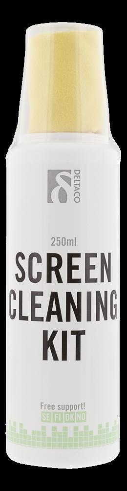 Ekrano valymo rinkinys DELTACO 250ml,  mikropluošto šluostė, be alkoholio, biologiškai skaidomas / CK1008