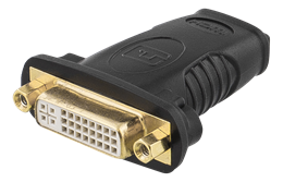 HDMI adapteris, 1080p @ 60Hz, HDMI 19 kontaktų -  DVI-D mo, auksinės spalvos jungtys, juodos DELTACO / HDMI-10A