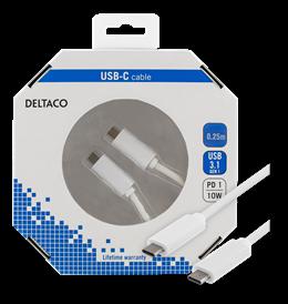 DELTACO USB 3.1 kabelis, Gen 1, Type C - Type C, 0.25m, baltas / USBC-1057-K