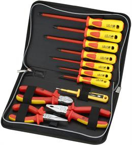 Įrankių rinkinys su 7 atsuktuvais ir 3 replėmis, individualiai išbandytas išlaikyti 1000V DELTACOIMP raudonas / geltonas / VK-259