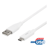 DELTACO USB 2.0 kabelis, Type C - Type A male, 0.5m, baltas / USBC-1008M