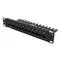 DELTACO 10-PATCH16 Patch Panel, 12 Ports, Cat6, UTP, Black / 10-PATCH16