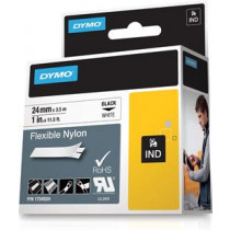 Rhino Professional, žymėjimo lankstaus nailono juosta, 24 mm, juodas tekstas ant baltos juostos, 3,5 m DYMO / 1734524