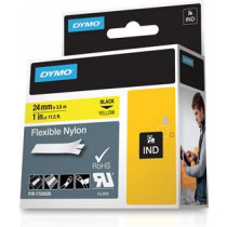 Rhino Professional, žymėjimo lankstaus nailono juosta, 24 mm, juodas tekstas ant geltonos juostos, 3,5 m DYMO / 1734525
