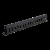 Metalinis kabelių tvarkymo kanalas, pralaidus, 1U DELTACO juodas / 19-25
