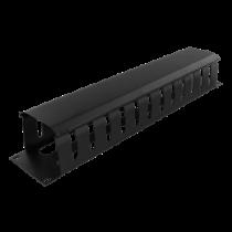 Metalinis kabelių tvarkymo kanalas, pralaidus, 2U,  DELTACO juodas / 19-26