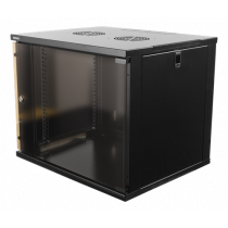 "DELTACO 19 ""cabinet, 9U, 540x450mm, standing or wall mounted, glass door, black /19-5409B"