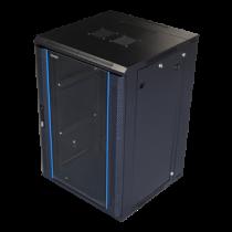 Pakabinama komutacinė spintelė, 18U, 600x600, užrakinamos stiklo durys, TOTEN (ZH6618.911) juodos / 19-6618