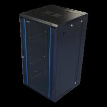 Pakabinama komutacinė spintelė, 22U, 600x600, stiklinės durys TOTEN (ZH6622.911) juoda / 19-6622
