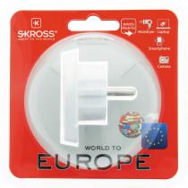 """SKROSS"" kelioninis adapteris EMEA / JAV / JK į ES, nepamatuotas, 220–250 V maks. 16A, baltas"