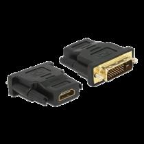 DeLOCK adapteris iš DVI į HDMI, DVI 24 + 1 kontaktas, HDMI 19 pin, auksu padengtos jungtys, juodas / 65466