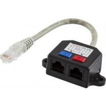DELTACO Y network cable, 1xRJ45 ha to 2xRJ45 ho, UTP Cat5  / 679-U