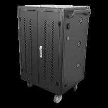 """Nešiojamųjų kompiuterių ir planšetinių kompiuterių įkrovimo vežimėlisDELTACO iki 14"""", 36 vietos, dvigubos durys, juodas / DPS-0202"""