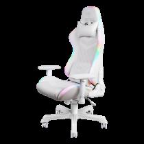 Žaidimų kėdė DELTACO GAMING WHITE LINE, RGB, kaklo pagalvėlė, nugaros pagalvėlė, balta / GAM-080-W