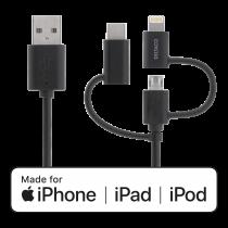 Universalus krovimo bei informacijos perdavimo laidas DELTACO  2m, Micro USB, USB-C, Lightning, juodas / IPLH-156