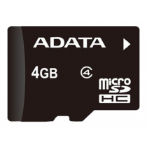 Atminties kortelė A-DATA microSDHC, 4GB, speed class 4, juoda / ADATA-185