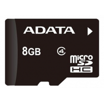 Atminties kortelė A-DATA micro SDHC, 8GB, speed class 4, juoda / ADATA-186
