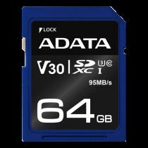 Atminties kortelė A-DATA Premier Pro SDXC, UHS-I U3 Class 10, 64GB, mėlyna / ADATA-338