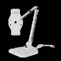 """Išmaniųjų telefonų ir planšetinių kompiuterių laikiklis, 4-12,2 """", USB jungtis, 360 laipsnių apsisukimas DELTACOIMP balta / ARM-266"""