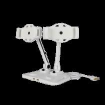 """Dvigubas plančetinių kompiuterių ir išmaniųjų telefonų stovas, 2x 4""""-12"""", 2x USB, sukiojamas DELTACOIMP baltas / ARM-267"""