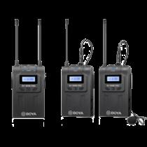 WM8 PRO-K2 UHF dviejų kanalų belaidis mikrofonas, 2 siųstuvai, 48 kanalai, 6 valandų baterija BOYA juoda / BOYA10080
