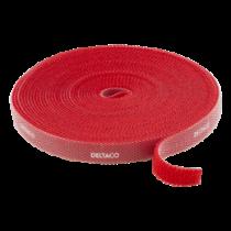 DELTACO Kabelio ir kilpų tvirtinimo detalės, plotis 10mm, 5m, raudonas DELTACO / CM05R