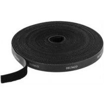 DELTACO Velcro juosta, 10mm, 5m, juoda, CM05S