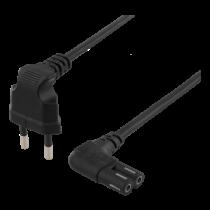 DELTACO  laidas, 0,5 m, kampuotas CEE 7/16, IEC 60320, juodas DEL-109BK