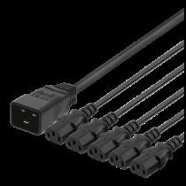 DELTACO IEC C20 - 5x IEC C13 maitinimo kabelis, 1m, 16A / 250V, Y-Splitter, b DEL-113M