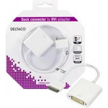Adapteris DELTACO Apple dock - DVI, balt