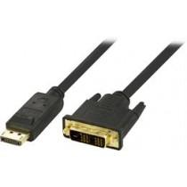 DELTACO DP - DVI-D Single Link kabelis, Full HD - 60Hz, 2m, juodas, 20-pin ha - 18 + 1-pin ha / DP-2020