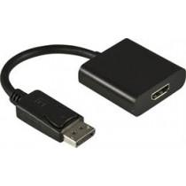 Adapteris DELTACO DisplayPort į HDMI su audio, juodas, 0.2m / DP-HDMI13