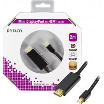 DELTACO mini DisplayPort - HDMI kabelis, Full HD @ 60Hz, 2m, DP-HDMI204-K