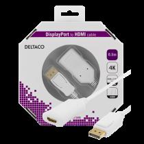 DELTACO DisplayPort - HDMI 2.0b kabelis, 4K, 60 Hz, 0,5 m, baltas