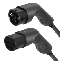 Elektromobilio įkrovimo kabelis DELTACO Type 2 - Type 2, 1 fazės, 32A, 7,6 kW, 3 m, juodas / EV-1213