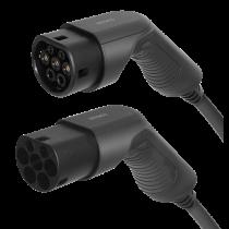 Elektromobilio įkrovimo kabelis DELTACO Type 2 - Type 2, 1 fazės, 32A, 7,6 kW, 7 m,  juodas / EV-1217