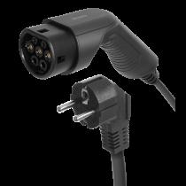 Elektromobilio įkrovimo kabelis DELTACO Schuko - Type 2, 1 fazės, 16A, 3,6KW, 5m / EV-1225