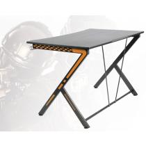 Žaidimų stalas, metalo kojos, PVC apdorotas paviršius, įmontuotas pakabukas ausinėms, juodas / oranžinis DELTACO GAMING / GAM-049