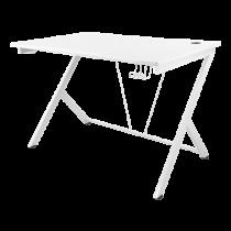Žaidimų stalas DELTACO GAMING WHITE LINE metalinės kojos, PVC paviršius, įmontuotas ausinių laikiklis, baltas / GAM-055