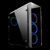 """""""Gaming"""" korpusas su grūdintu stiklu ir iš anksto sumontuotais RGB ventiliatoriais CHIEFTEC juoda / GL-02B-OP"""