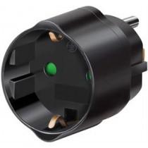 Elektros lizdo adapteris, JAV / Jap į ES , įžemintas, gyvūnų apsauga Brennenstuhl juodas / GT-473
