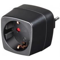 Kelionių adapteris, ES į Italy, įžemintas, naminių gyvūnėlių apsauga Brennenstuhl juoda / GT-474