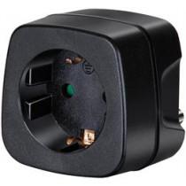 Kelionių adapteris, ES į Indiją, įžemintas, naminių gyvūnėlių apsauga Brennenstuhl juoda / GT-475