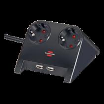 Brennenstuhl Desktop Power, Prailgintuvas su USB, 2xCEE 7/4, 1xCEE 7/7, 2xUSB 2.1A, 1.8m, juodas 1153500222 / GT-653