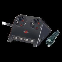 Brennenstuhl Desktop Power, prailgintuvas USB Hub, 2xCEE 7/4, 1xCEE 7/7, 1.8m, juodas 1153500122 / GT-664