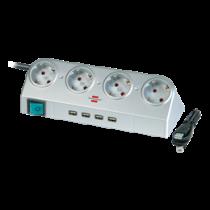 Brennenstuhl Desktop Power, prailgintuvas USB Hub, 4xCEE 7/4, 1xCEE 7/7, 1.8m, Silver 1153540134 / GT-666