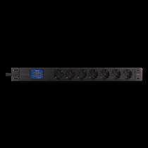 """7-vietų 19"""" galios paskirstymo įtaisas, 2500W, CEE 7/3, skaitmeninis voltų / amperų skaitiklis DELTACO juoda  /  GT-8638"""