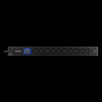 """10-vietų 19 """"galios paskirstymo blokas, 2500W, C13, skaitmeninis voltų / amperų skaitiklis DELTACO juodas / GT-8639"""