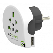 Adapteris Q2Power 10A, 1xUSB, į euro baltas / GT-904